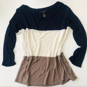 Color Block 3/4 Sleeve Blouse